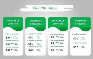 Green Price List Tables Template vector