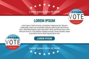 diseño de banner de voto rojo y azul vector