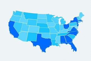 Blue USA Divided Map vector
