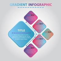 Creative Gradient Infographic. Flat Infographic Design Template 5 Circular Gradient Elements. vector