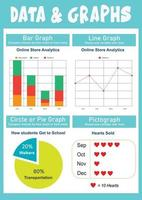 Data and Graphs Educational Poster vector