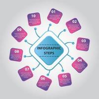 infografía de pasos abstractos. Diagrama infográfico cicrle con 10 pasos. vector