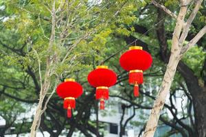 Chinese's lanterns over the street
