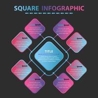 infografía cuadrada moderna. ocho elementos infigrqphics cuadrados para diseños comerciales. vector