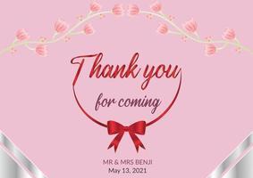 Wedding thank you card. Thank you for coming wedding card. vector