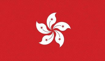 Hong Kong flag in zigzag style pattern vector illustration.