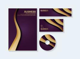 Business stationery mock up set in purple gold color vector