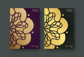 Luxury book cover set with floral motif vector