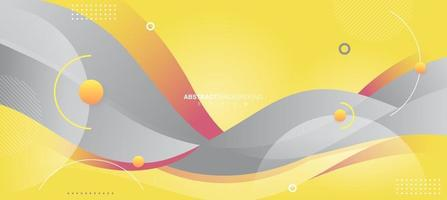 Abstract Wavy Background in Trendy Gray and Yellow vector