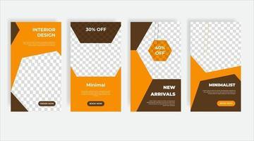 Home interior design social media post template banner vector