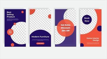 Best selling furniture social media post template banner vector