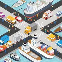 Isometric port cargo vector