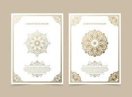 Vintage ornament greeting card vector template set
