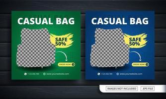 Folleto verde y azul o banner de redes sociales para la venta de bolsos.