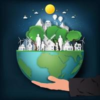 Paper cut style of hand holding earth vector