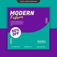 Fondo de plantilla de redes sociales de moda moderna. fácil de usar. vector premium