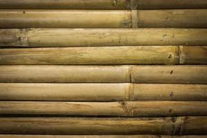 Close-up de pared de bambú amarillo para textura o fondo foto