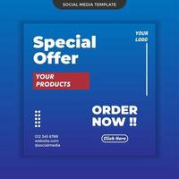 Special offer social media template on blue background. easy to use. premium vector