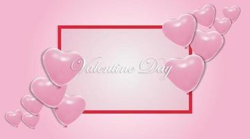 fondos del día de San Valentín. Diseño de globo de corazón 3d. ilustración vectorial