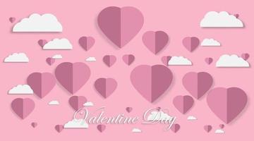 elementos de papel en forma de corazón volando sobre fondo rosa. simbolos vectoriales dia de san valentin vector