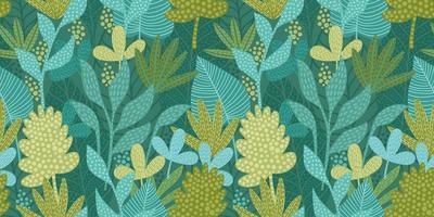 patrón artístico sin fisuras con hojas abstractas. diseño moderno para papel, cubierta, tela, decoración de interiores y otros. vector