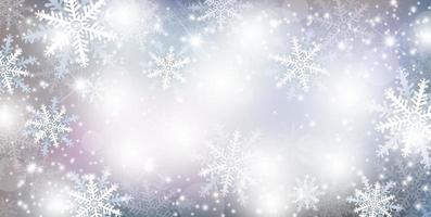 Diseño de fondo de Navidad de copo de nieve cayendo y nieve temporada de invierno ilustración vectorial