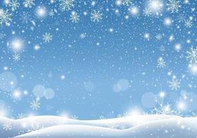 Diseño de fondo de Navidad de nieve cayendo ilustración de vector de temporada de invierno