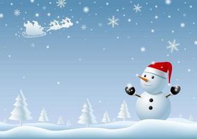 muñeco de nieve mirando santa claus en invierno navidad fondo vector illustration