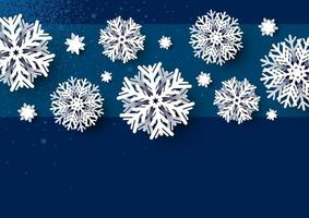Diseño de tarjeta de Navidad de copo de nieve blanco sobre fondo azul ilustración vectorial