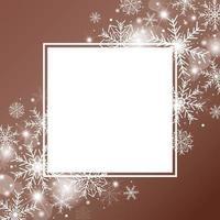 Diseño de concepto de fondo de Navidad de copo de nieve blanco con marco en blanco sobre fondo de color cobre ilustración vectorial