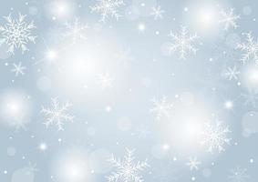 Diseño de concepto de fondo de Navidad de copo de nieve blanco y nieve con ilustración de vector de espacio de copia