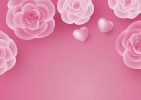Diseño de tarjeta de San Valentín de flor rosa y corazón sobre fondo rosa ilustración vectorial