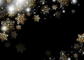Diseño de fondo de Navidad de oro copo de nieve temporada de invierno ilustración vectorial