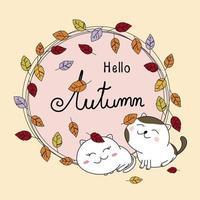 Diseño de tarjeta de otoño de pareja de gatos y hojas de otoño ilustración vectorial