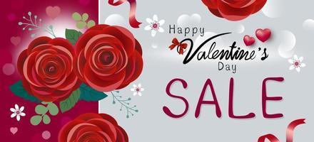 Feliz día de San Valentín diseño de venta de flores rosas rojas ilustración vectorial