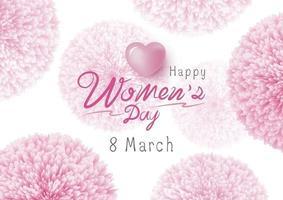 Feliz día de la mujer diseño de flores de color rosa sobre fondo blanco ilustración vectorial