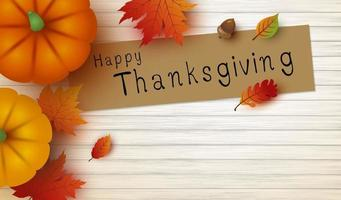 Thanksgiving design of pumpkin and maple leaves on white wood with copy space vector illustration