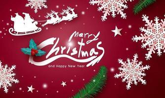 Feliz Navidad y feliz año nuevo diseño sobre fondo rojo ilustración vectorial vector
