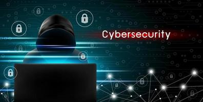 Cybersecurity concept of Hacker using computer with key icon and technology background design vector