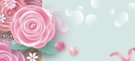 Banner de flores color de rosa con fondo de espacio de copia para la ilustración de vector de día de la madre y la mujer de San Valentín