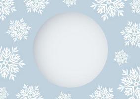 Diseño de tarjeta de Navidad de copo de nieve blanco con ilustración de vector de espacio de copia