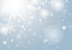 Diseño de concepto de fondo de Navidad de copo de nieve blanco y nieve en invierno con ilustración de vector de espacio de copia
