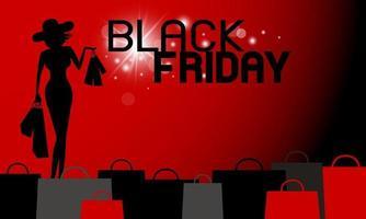 Diseño de banner de viernes negro de mujer sosteniendo bolsa de compras ilustración vectorial
