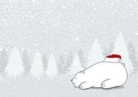 Diseño de tarjeta de Navidad de oso blanco con sombrero de santa claus en invierno ilustración vectorial