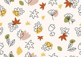 Autumn themes design with flat leaf seamless pattern editable design vector