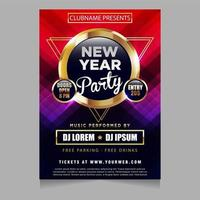 New year party poster invitation with glowing sparkling themes design