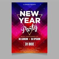 New year party poster invitation with glowing shiny themes