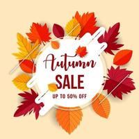 Autumn sale concept design with flat leaves background vector