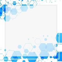 abstract white frame with blue hexagonal shapes