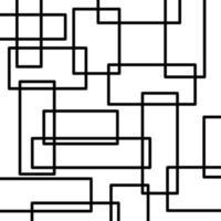Línea cuadrada negra abstracta con fondo blanco para decoración de paredes vector